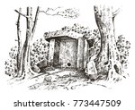 ancient cave. prehistoric house ... | Shutterstock .eps vector #773447509