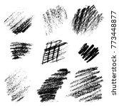 black monochrome chalk charcoal ...   Shutterstock . vector #773448877
