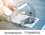 business technology people are... | Shutterstock . vector #773449351