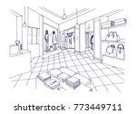 monochrome freehand sketch of... | Shutterstock .eps vector #773449711