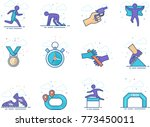 run competition icon series in... | Shutterstock .eps vector #773450011