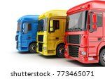 three colored big truck on...   Shutterstock . vector #773465071