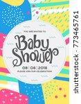 baby shower card design. | Shutterstock .eps vector #773465761