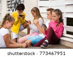 children are playing on... | Shutterstock . vector #773467951