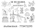 chemistry. hand sketches on the ... | Shutterstock .eps vector #773472295