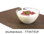 raspberry jam on fresh yoghurt... | Shutterstock . vector #77347519