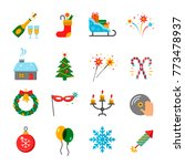 happy new year icons set.... | Shutterstock .eps vector #773478937
