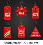 christmas sale paper tag banner ... | Shutterstock .eps vector #773481595