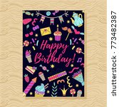 birthday party doodle greeting... | Shutterstock .eps vector #773482387