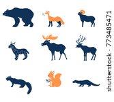 cartoon forest vector animals.... | Shutterstock .eps vector #773485471