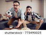 cheerful young guys are... | Shutterstock . vector #773490025