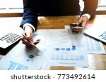 businessman accountant analyze... | Shutterstock . vector #773492614
