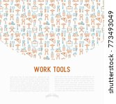 work tools concept with thin... | Shutterstock .eps vector #773493049