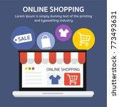 flat style.online shopping  bag ... | Shutterstock .eps vector #773493631