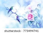 little fantastic blue birds... | Shutterstock . vector #773494741