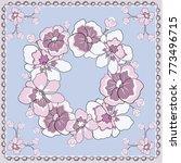 spring retro floral print. silk ... | Shutterstock .eps vector #773496715