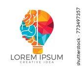 bulb and brain logo design.... | Shutterstock .eps vector #773497357