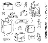 hand drawn doodle baggage icons ... | Shutterstock .eps vector #773499847