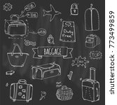 hand drawn doodle baggage icons ... | Shutterstock .eps vector #773499859