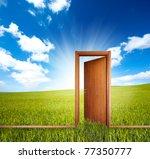 home door open in a green clean ... | Shutterstock . vector #77350777