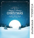vintage christmas landscape... | Shutterstock .eps vector #773509114