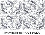 koi carp seamless pattern ... | Shutterstock .eps vector #773510209