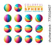 vector 3d vibrant color striped ... | Shutterstock .eps vector #773510407