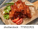 grilled pork ribs with sauce...   Shutterstock . vector #773521921