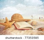 Straw Hat   Book And Seashells...