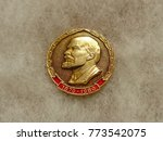 ussr   circa 1980  badge with... | Shutterstock . vector #773542075