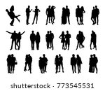 vector set of pairs silhouettes | Shutterstock .eps vector #773545531
