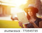 tourist. serious woman in hat...   Shutterstock . vector #773545735