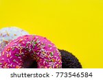 close up view of three donuts... | Shutterstock . vector #773546584