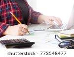 business team meeting present...   Shutterstock . vector #773548477