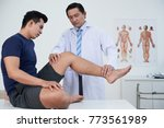 physiotherapist examining young ... | Shutterstock . vector #773561989