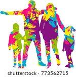 vector silhouette of family. | Shutterstock .eps vector #773562715