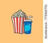 popcorn box and soda. cartoon... | Shutterstock .eps vector #773565751