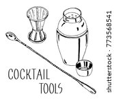 hand drawing cocktail tools... | Shutterstock .eps vector #773568541