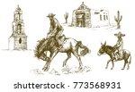 cowboy rides his horse  mexican ... | Shutterstock .eps vector #773568931