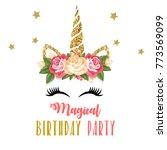 birthday invitation with... | Shutterstock . vector #773569099