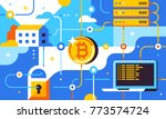blockchain and bitcoin mining... | Shutterstock .eps vector #773574724