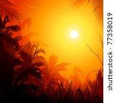 jungle at sunset background... | Shutterstock .eps vector #77358019