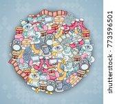 winter cartoon illustration.... | Shutterstock .eps vector #773596501