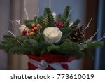 christmas flower arrengement | Shutterstock . vector #773610019