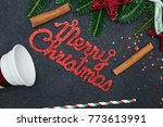 red gleaming merry christmas...   Shutterstock . vector #773613991