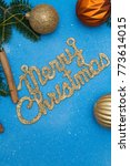 a gold gleaming merry christmas ...   Shutterstock . vector #773614015