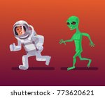 alien character chasing... | Shutterstock .eps vector #773620621