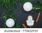 a festive frame of spruce...   Shutterstock . vector #773622919