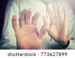 man doing stop gesture. | Shutterstock . vector #773627899