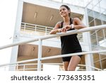 portrait of a pretty fitness... | Shutterstock . vector #773635351
